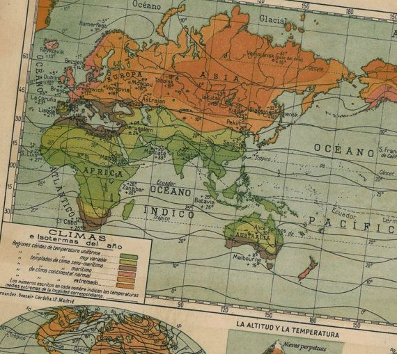 World climate in 1942 map world climate 18 vintage maps world climate in 1942 map world climate 18 gumiabroncs Gallery