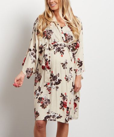 Another great find on #zulily! PinkBlush Cream Floral Delivery/Nursing Maternity Robe #zulilyfinds
