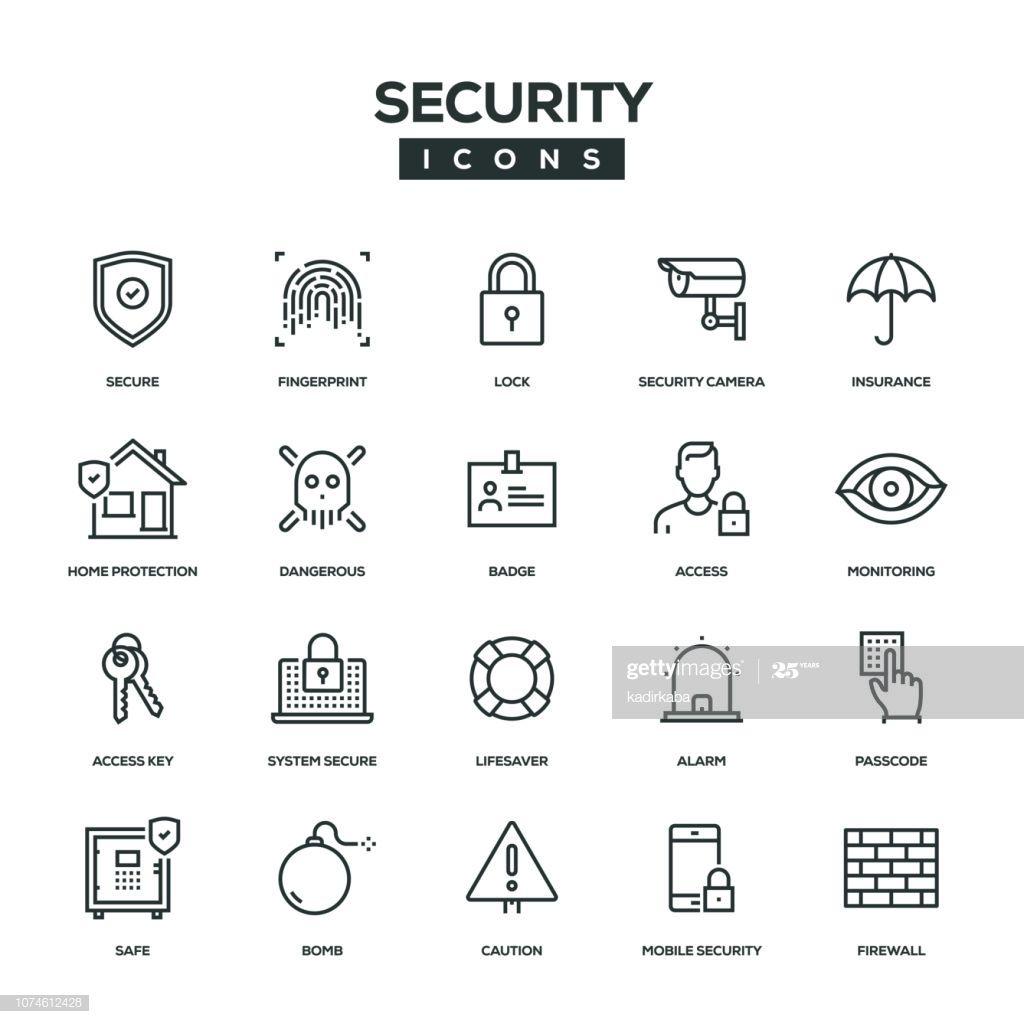 Security Line Icon Set Line Icon Icon Set Icon