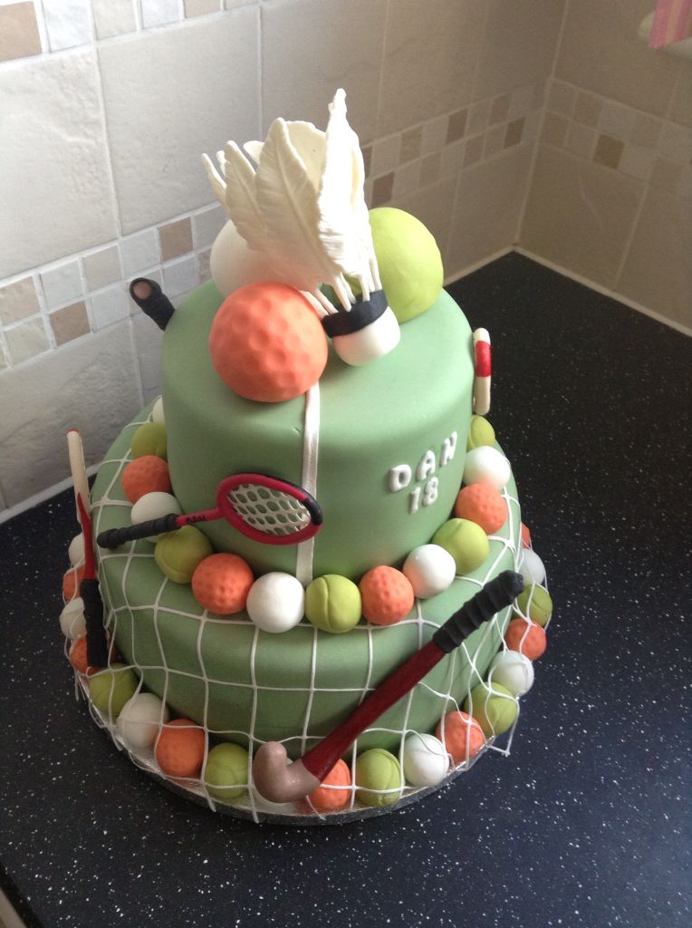 Sporty Themed 18th Birthday Cake For Hockey Badminton And