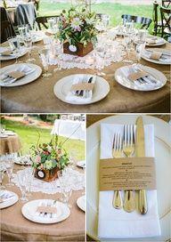 doilies on burlap for wedding table decor