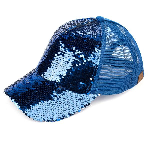 e7970e5e837 C.C Brand Pony Cap. BT-723 Reversible sequin ponytail baseball cap with mesh  back. Sequins are different colors on the front and back.