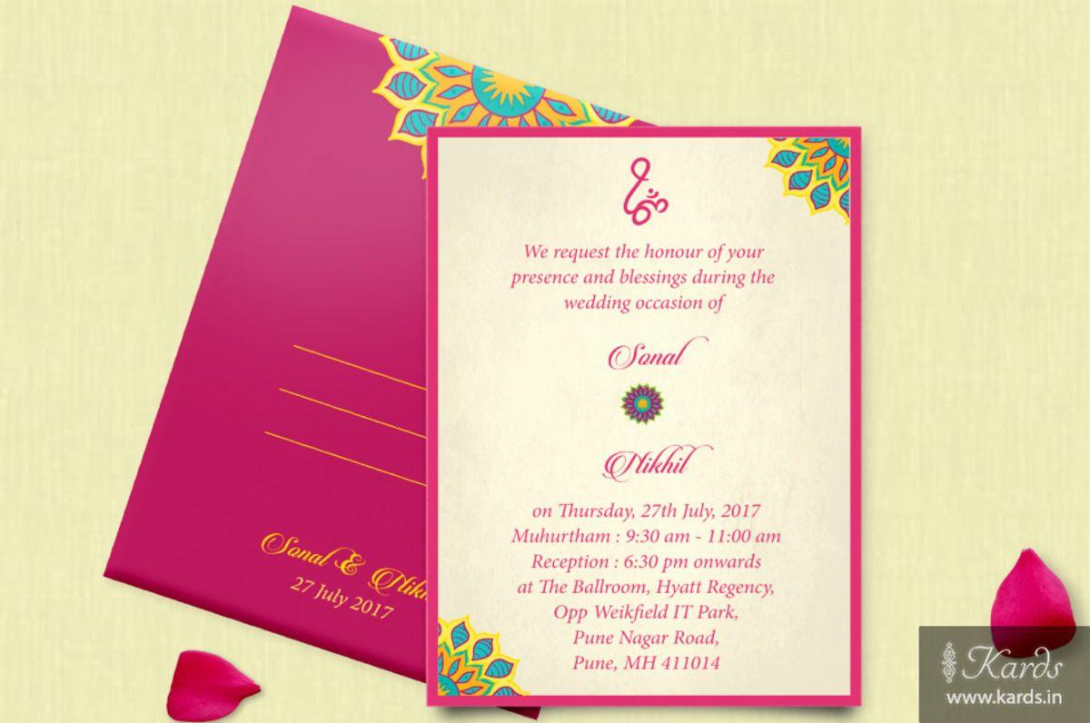 A classy Indian Pink Motif designed Wedding Invitation :-) | Classy ...