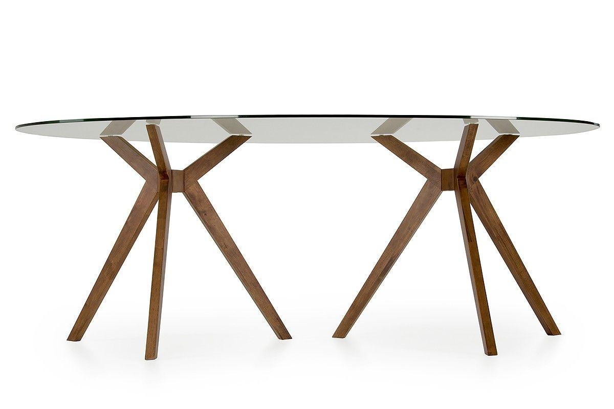 Modrest Skylar Mid Century Glass Oval Dining Table Oval Table Dining Dining Table Table