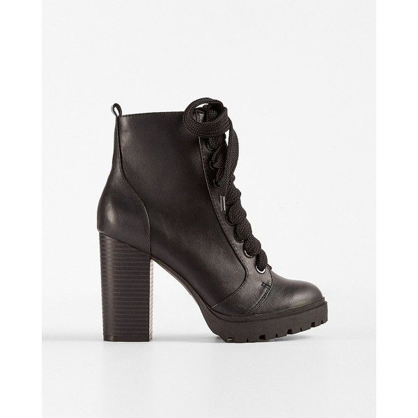 dab6f8945482 Express Lace-Up Heeled Lug Booties ( 42) ❤ liked on Polyvore featuring shoes