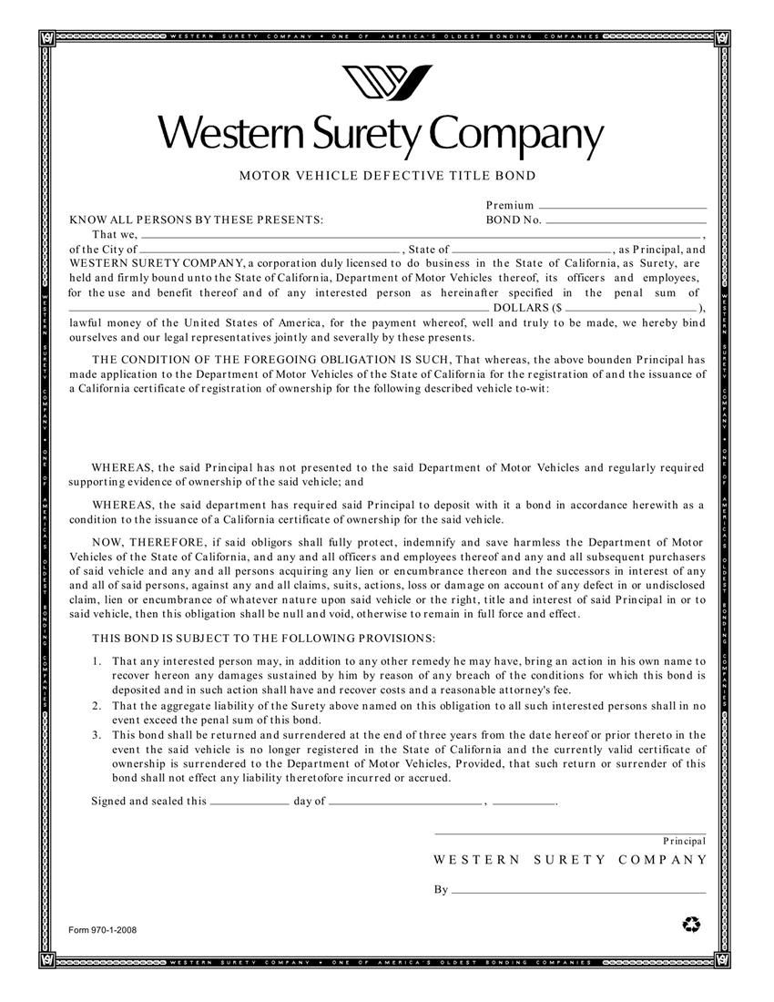 Motor Vehicle Surety Bond California Newmotorspot
