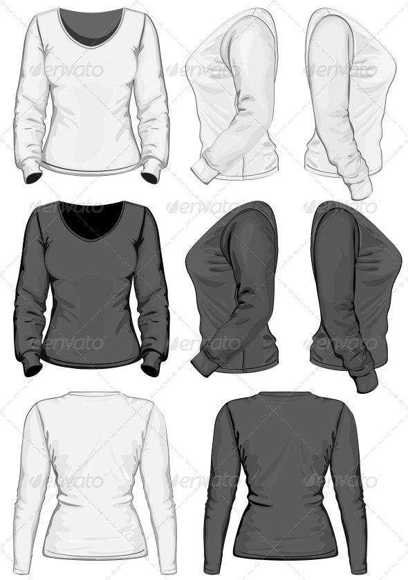 Download Women S T Shirt Design Template Long Sleeve T Shirt Design Template Women Tshirt Design Shirt Print Design