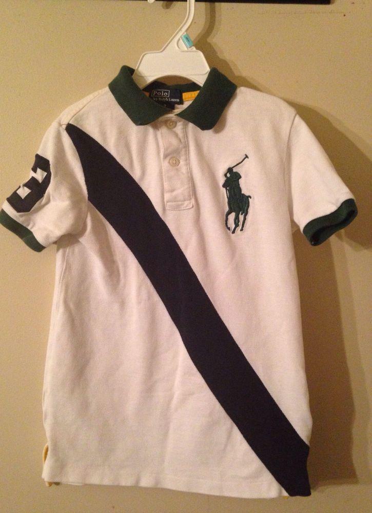 fc4c45af Polo Ralph Lauren Boys White Green Navy Blue BIG PONY Short Sleeve Shirt 7  #PoloRalphLauren #DressyEverydayHoliday #bigpony #ralphlauren