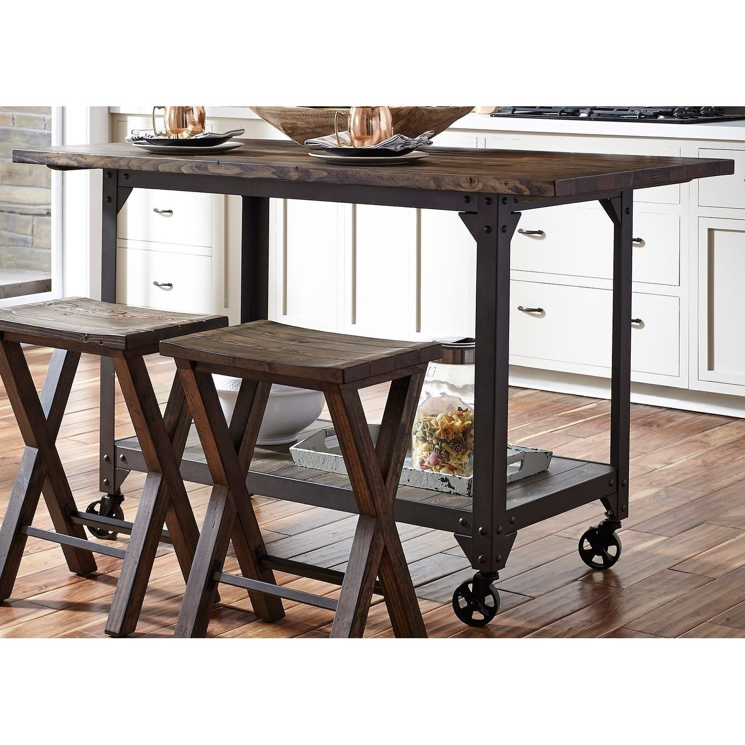 Liberty Caldwell Pewter Reclaimed Solid Pine 30Inch X 60Inch Awesome 60 Inch Kitchen Island Inspiration Design