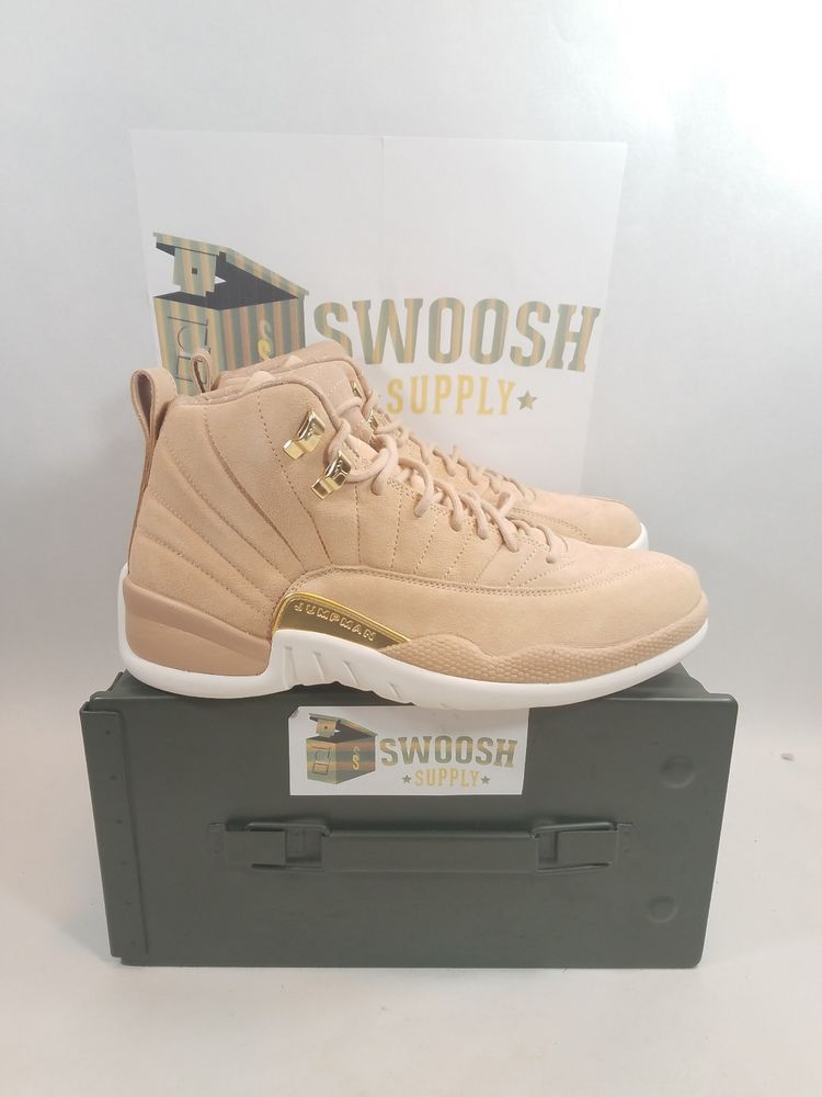 6de5f3f0914 Nike Womens Air Jordan 12 XII Retro Vachetta Tan Metallic Gold Sneakers  Size 5 #Nike #BasketballShoes