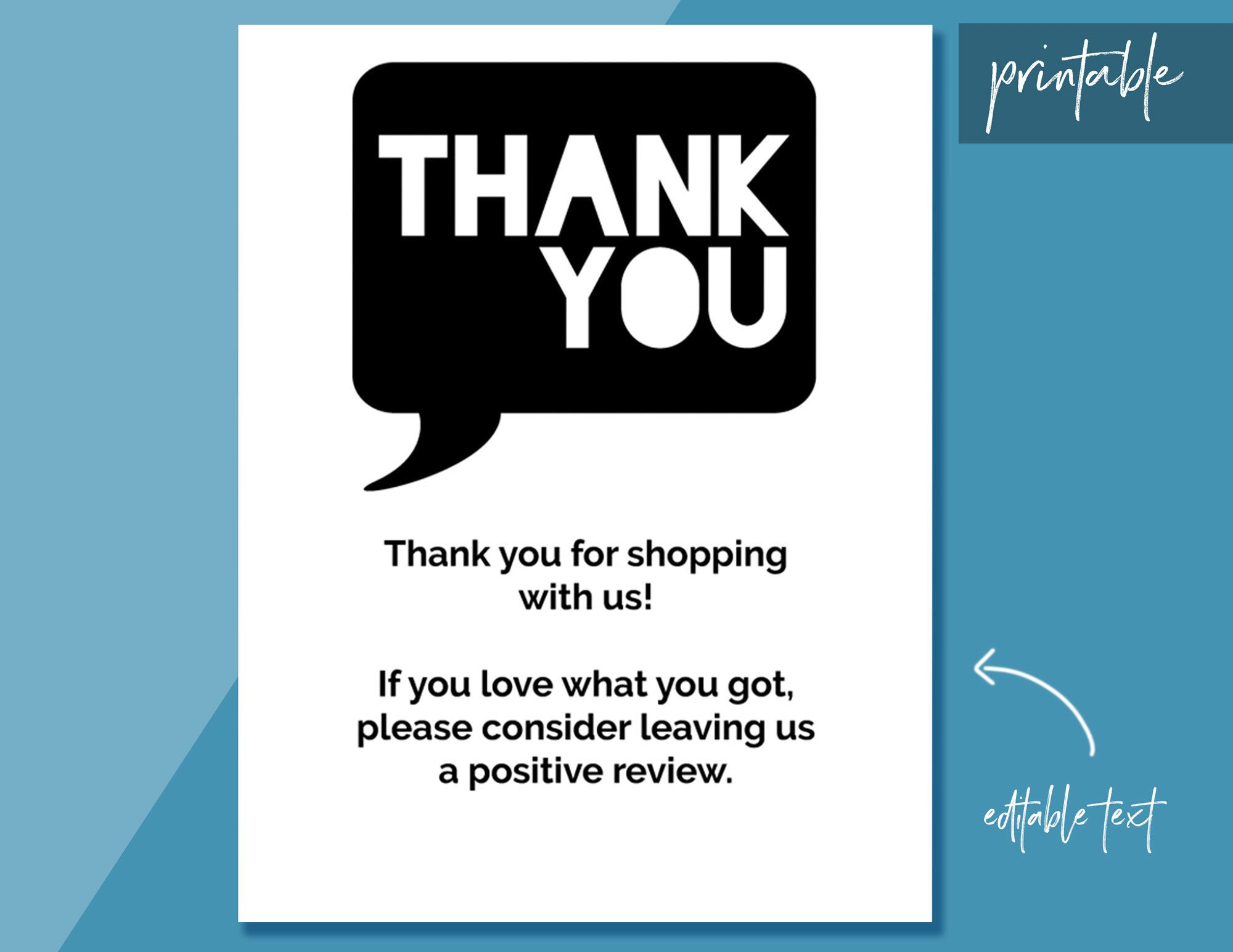 Instant Download Business Thank You Cards Printable Packaging