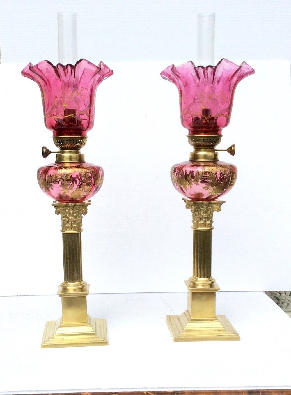 d7d16efacae7 Stunning Pair Of Antique Ruby Glass Oil Peg Lamps