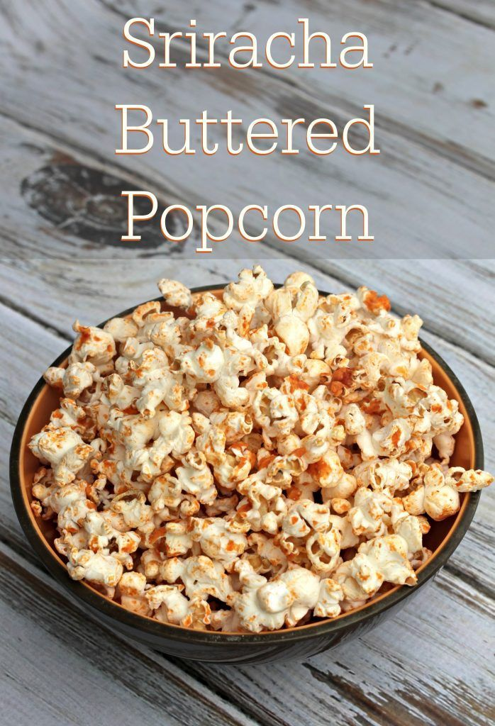 My new favorite snack recipe! Sriracha Buttered Popcorn. Spicy, crunchy and perfectly snackable.