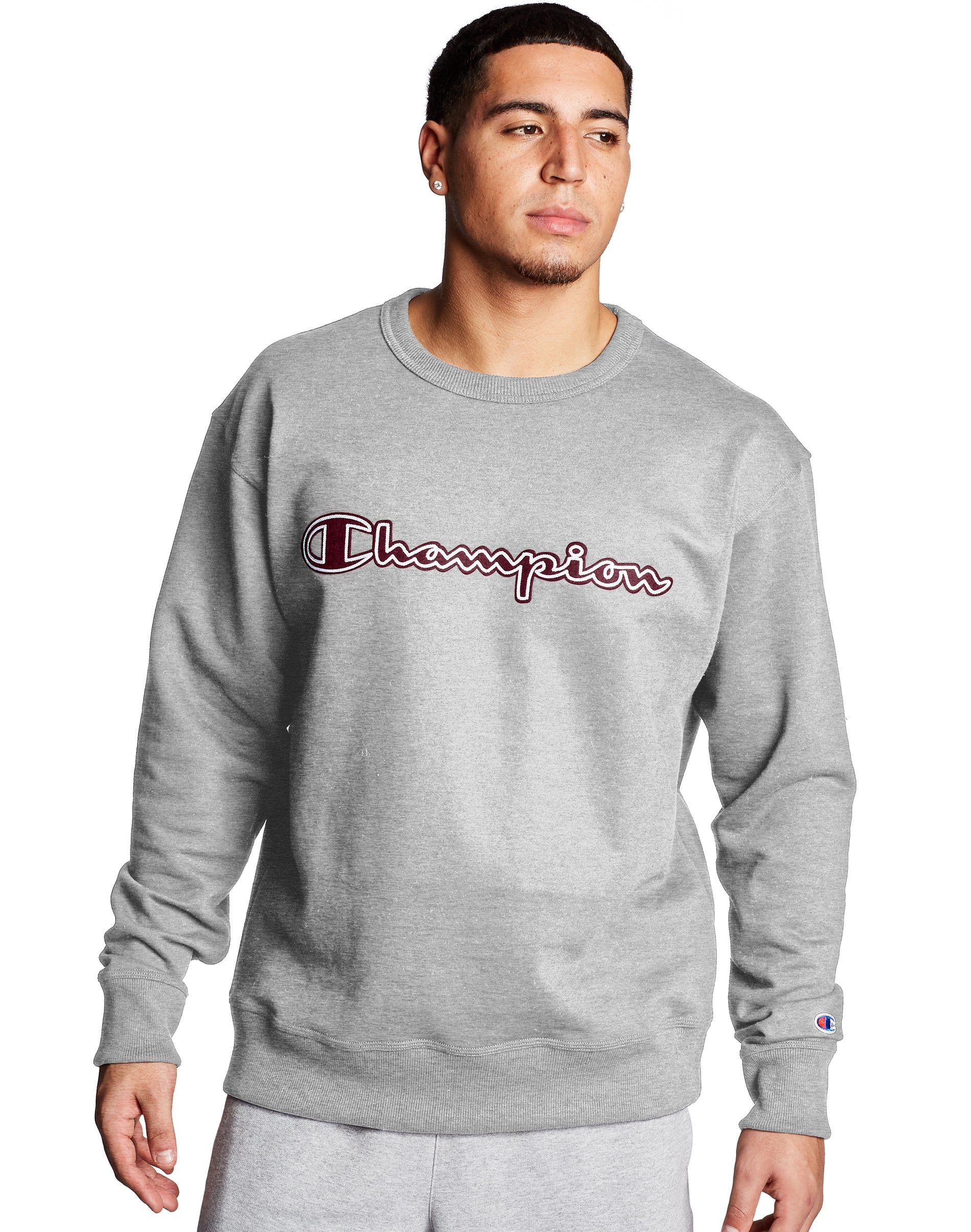 Champion Men S Athletics Powerblend Fleece Crew Logo With White Chainstitch Oxford Grey Sweatshirts Mens Champion Sweatshirt Crew Neck Sweatshirt [ 2410 x 1900 Pixel ]
