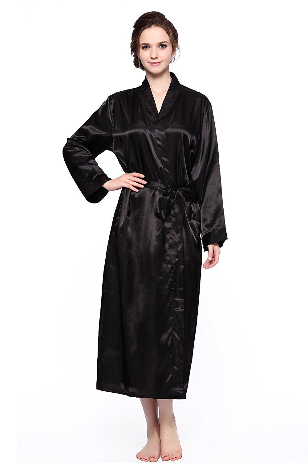 d72bf98bdcbbc Women s Long Classic Satin Kimono Lounge Bathrobe Robe - Black ...