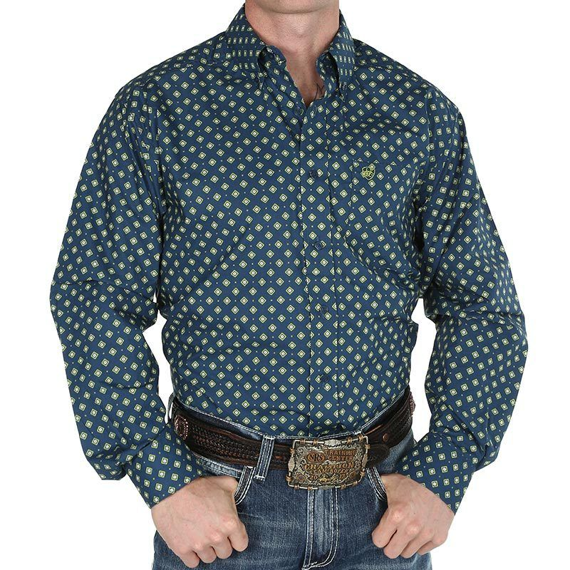Mens ariat navy diamond print shirt item 10016847