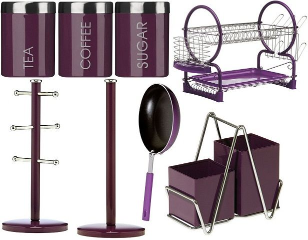 Purple Kitchen Accents Enamel Cooking Frying Storage Serving Drainer