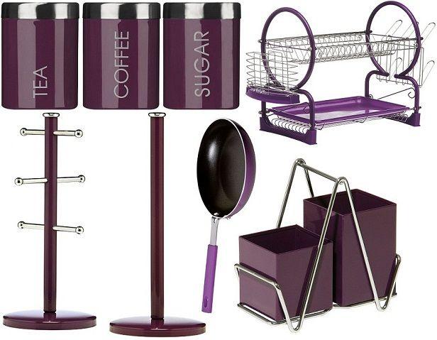Purple Kitchen Accents Enamel Cooking Frying Storage Serving Drainer