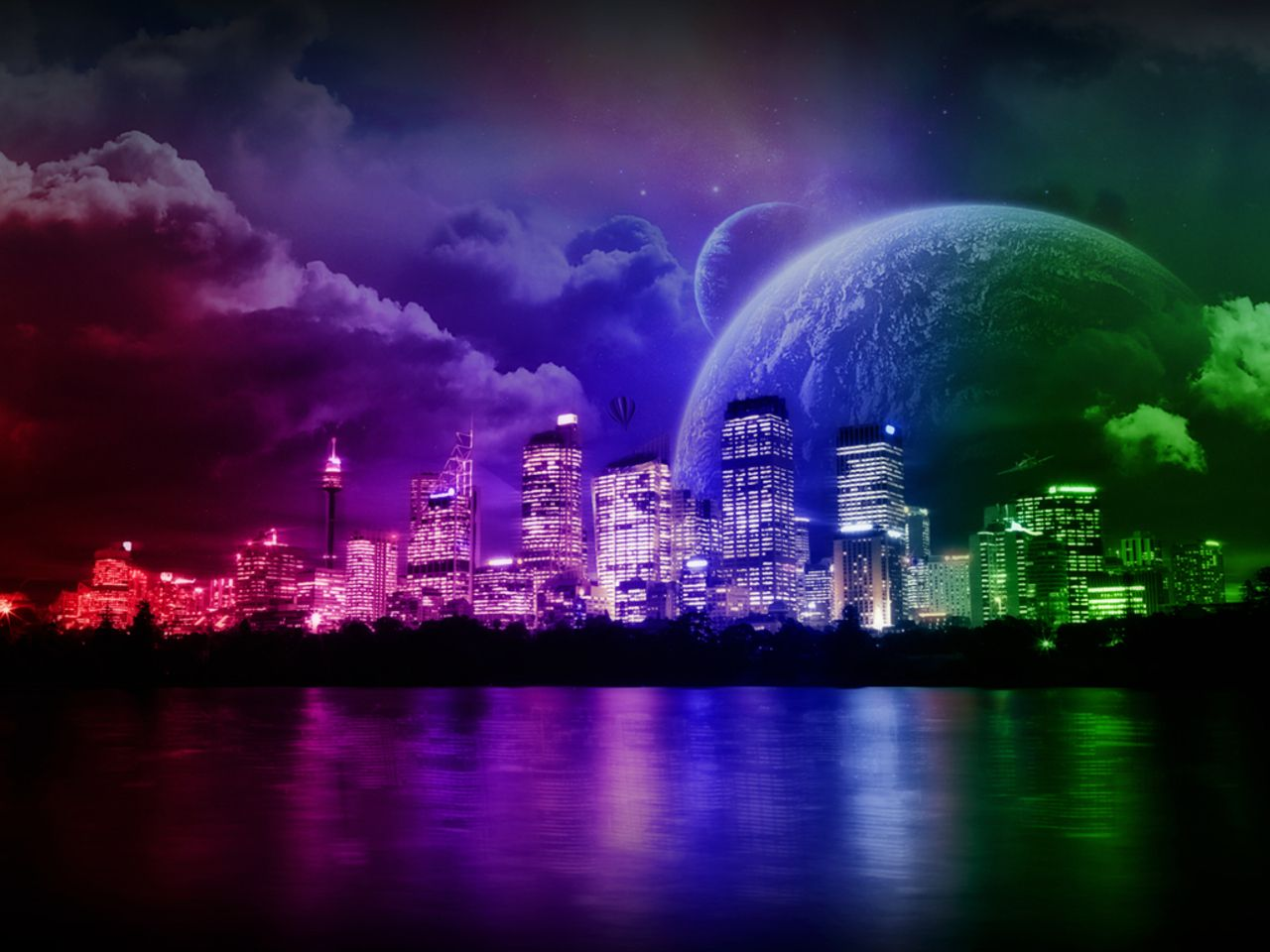Bright Colors Wallpaper Cosmic Colors Rainbow City World Wallpaper Night City