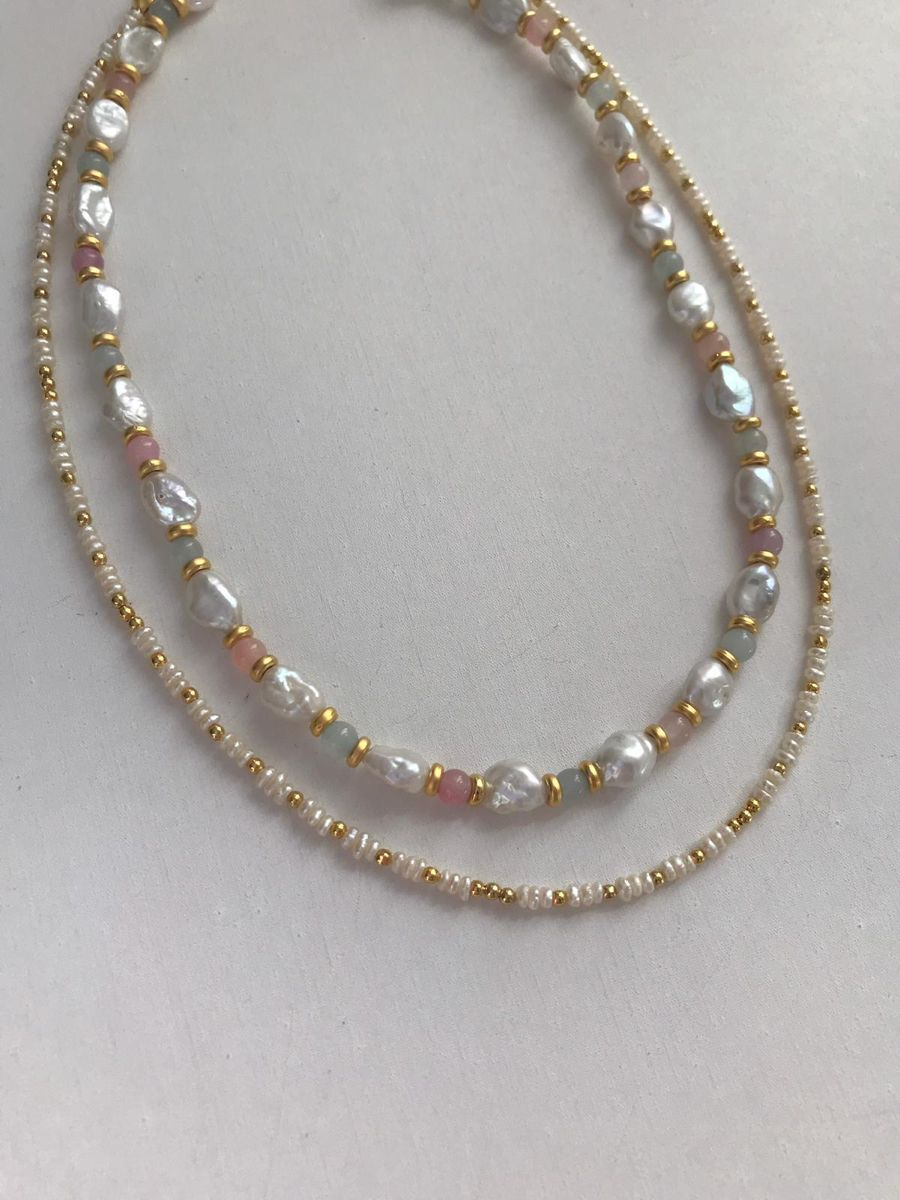 """Baroque pearl and natural stone colorful """"Autumn necklace"""""""