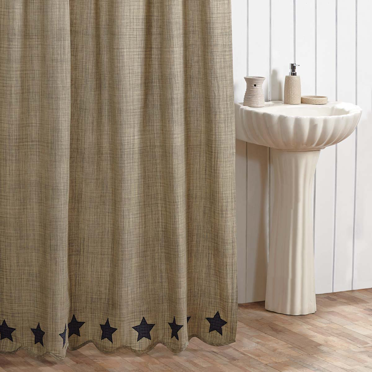 This Country Blue Star And Khaki Shower Curtain Brings A Primitive
