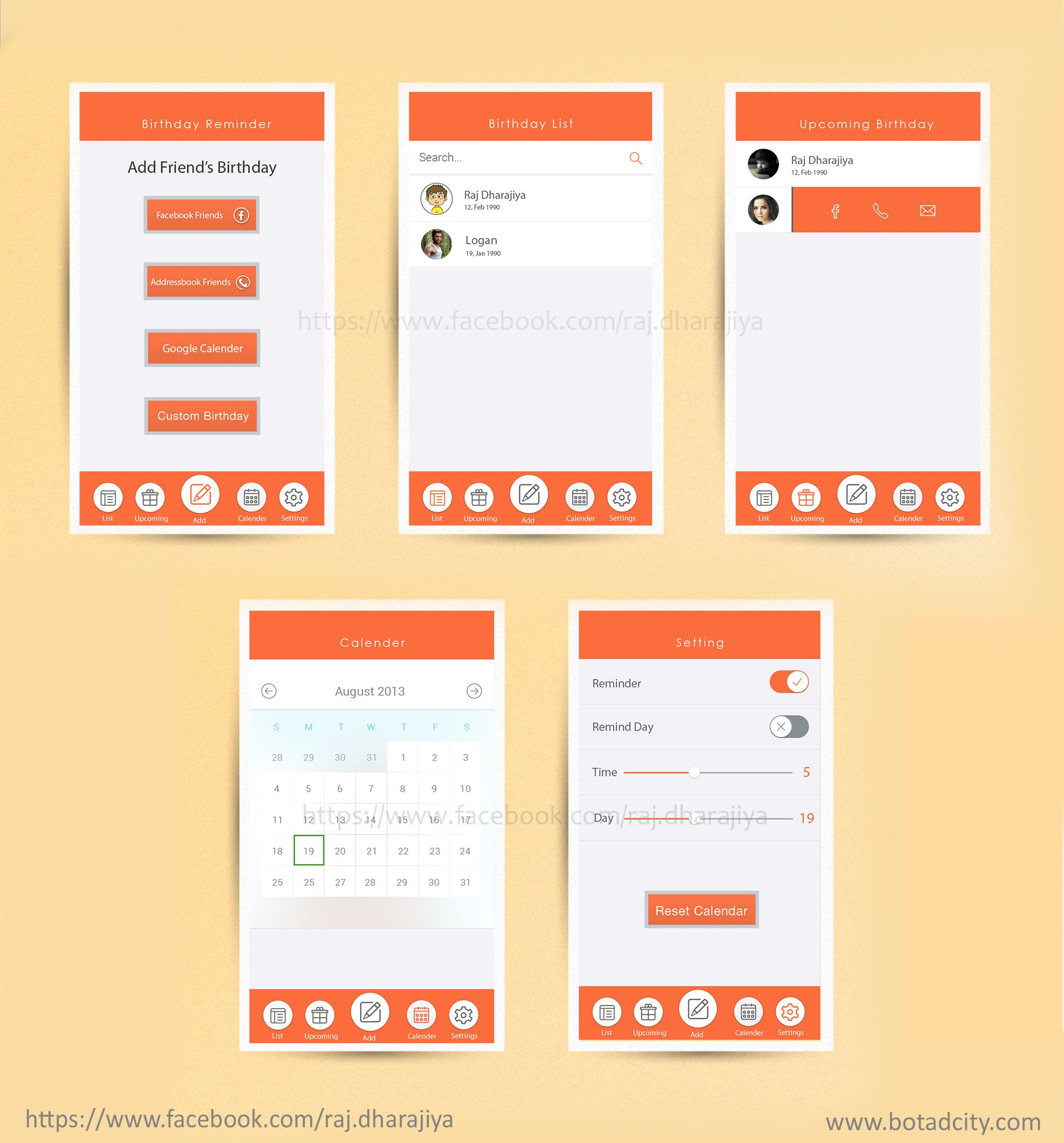 Flat Ui App Designing For Birthday Reminder Of Friends