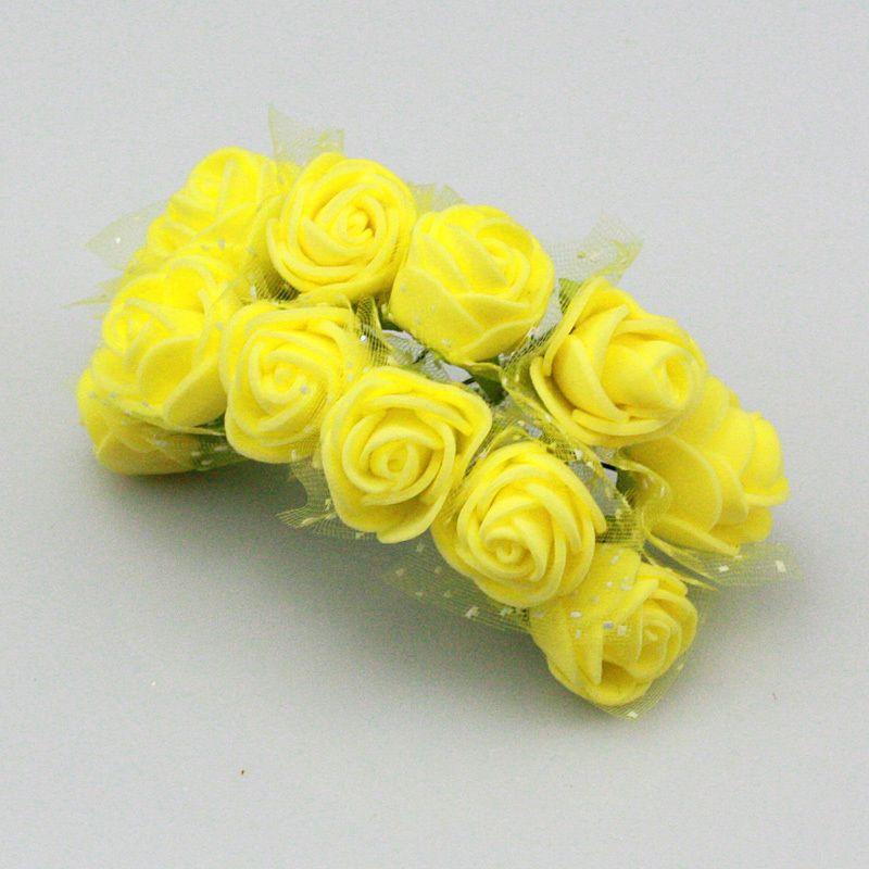 144pcs Artificial Flowers Mini Foam Rose with stem Wedding Bouquet Party Decor/_