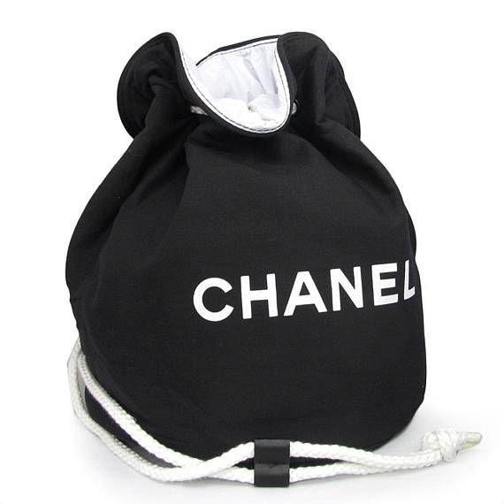 4917040f8838b7 Chanel Canvas Bucket Makeup Travel Gym Duffle Bag Large Vip Gift ...