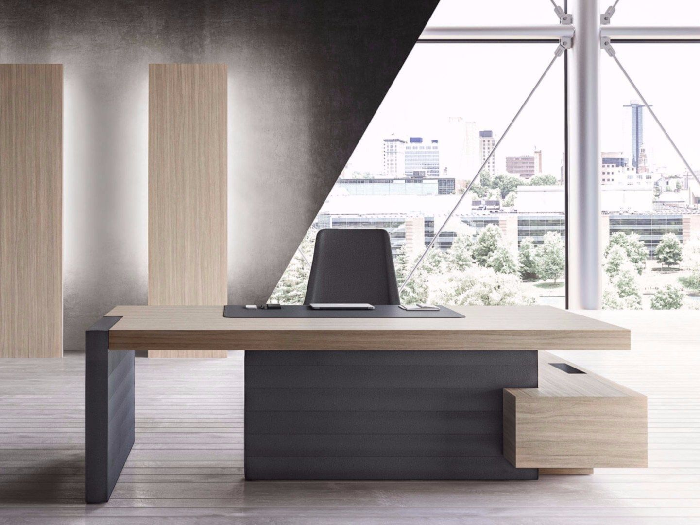 Scrivanie Las L Shaped Executive Desk With Shelves Jera Office Desk With