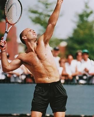 ANDRE-AGASSI-BARECHESTED-PLAYING-TENNIS-COLOR-PHOTO