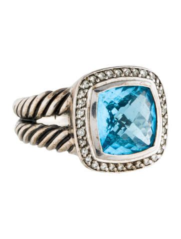 David Yurman Blue Topaz and Diamond Albion Ring