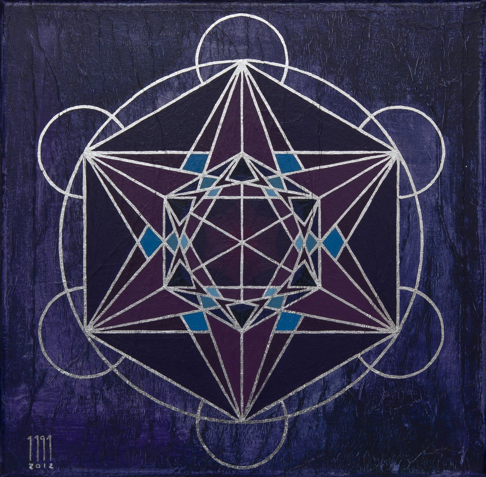 Cubo de Metatron , 33 x 33 cm, obra sobre tela.