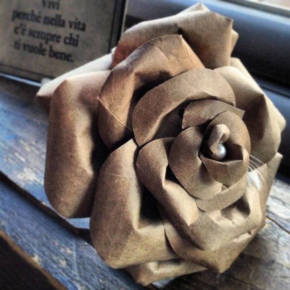 Recycled Paper Flower  Large Single Stem Rose from by BeHandmaiden, Paper Rose, Recycled Paper, Lace, Recycle - Repurpose - Reuse