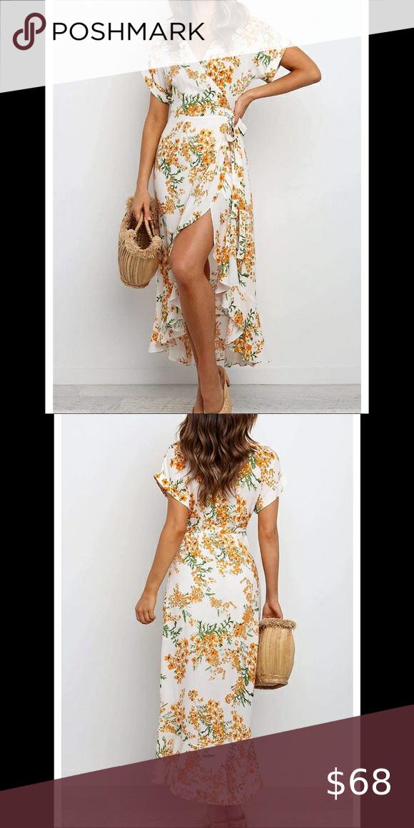 🆕Floral Wrap V Neck Beach Flowy Ruffle Midi Dress