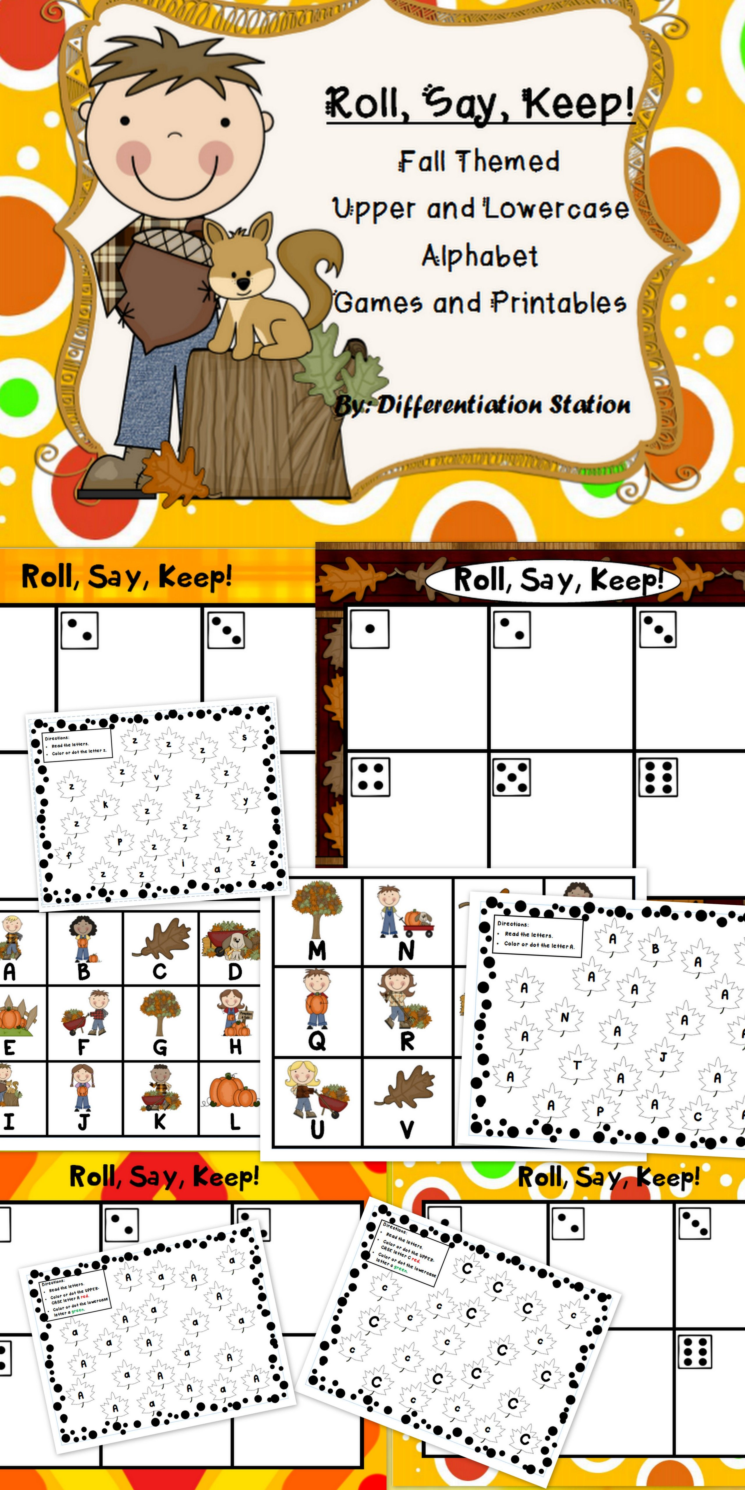 Fall Themed Roll Say Keep Game Center Printables Common Core