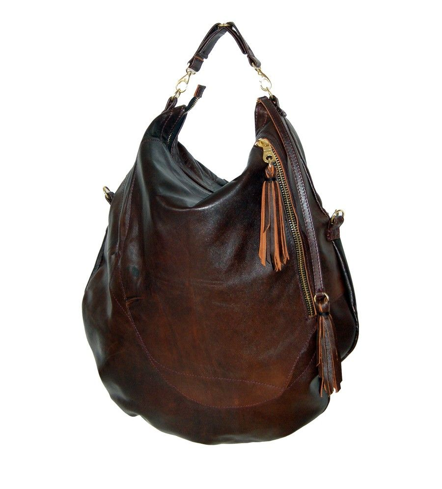 Roselle two size brown leather hobo bag handmade by delacyonline ...
