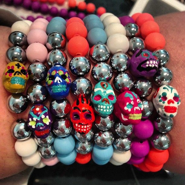 New skulls for a new year #pastel #handpainted #colorful #bracelets #jewelry #stack #armswag #accessories - @jewelsbydunn- #webstagram