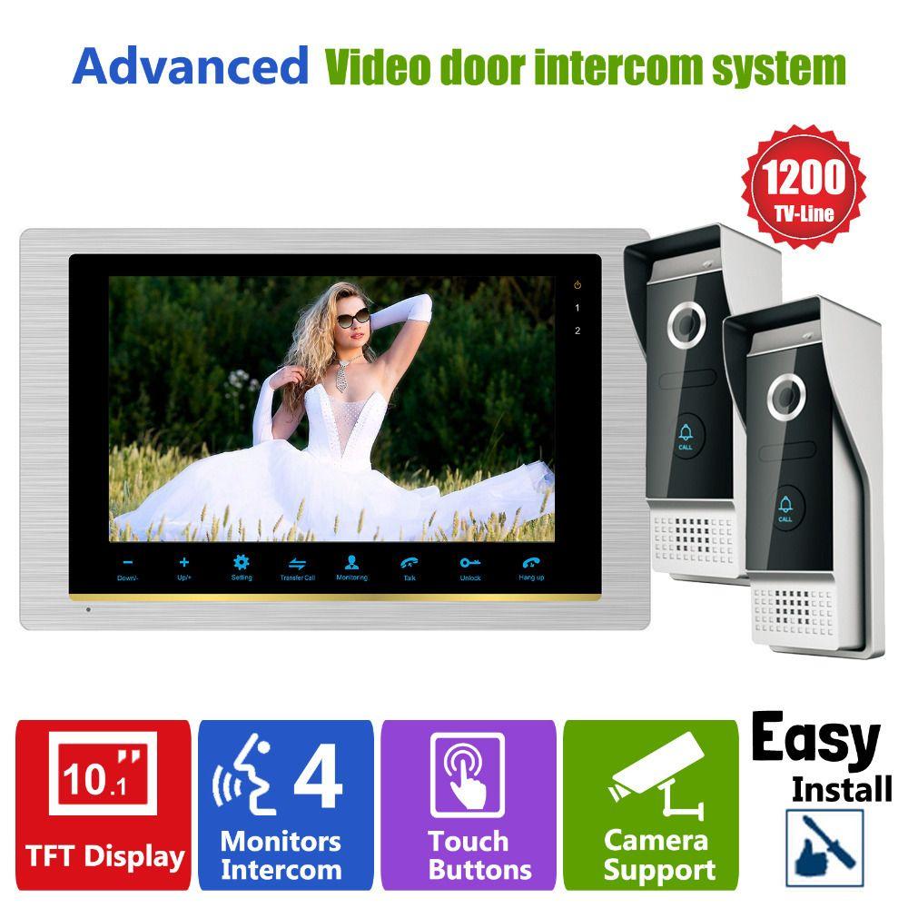 Homefong Video Intercom System Door Phone Doorbell Intercom Video  Camera  2V1 2 Outdoor Station 1200TVL 1 Indoor Station #Affiliate