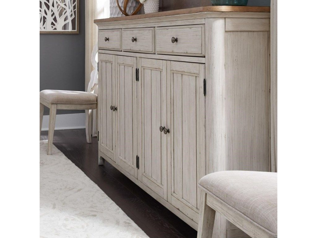Farmhouse reimagined vintage tall buffet with removable