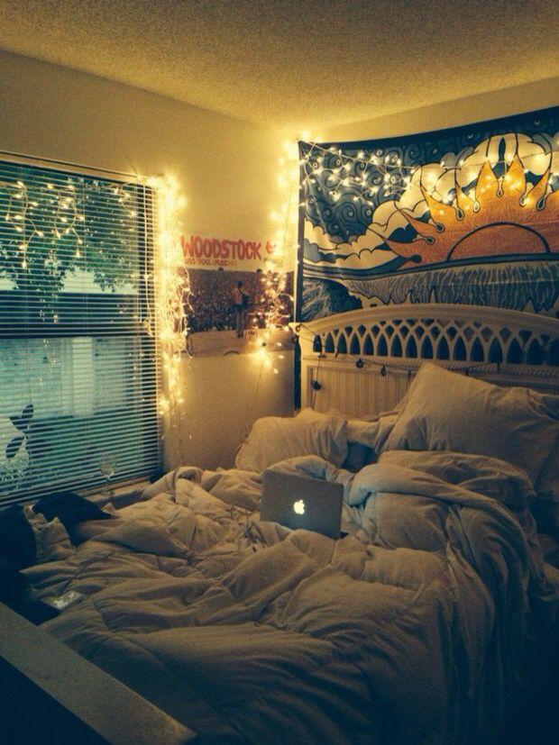 Fairy lights/messy bedroom look Tumblr bedroom decor