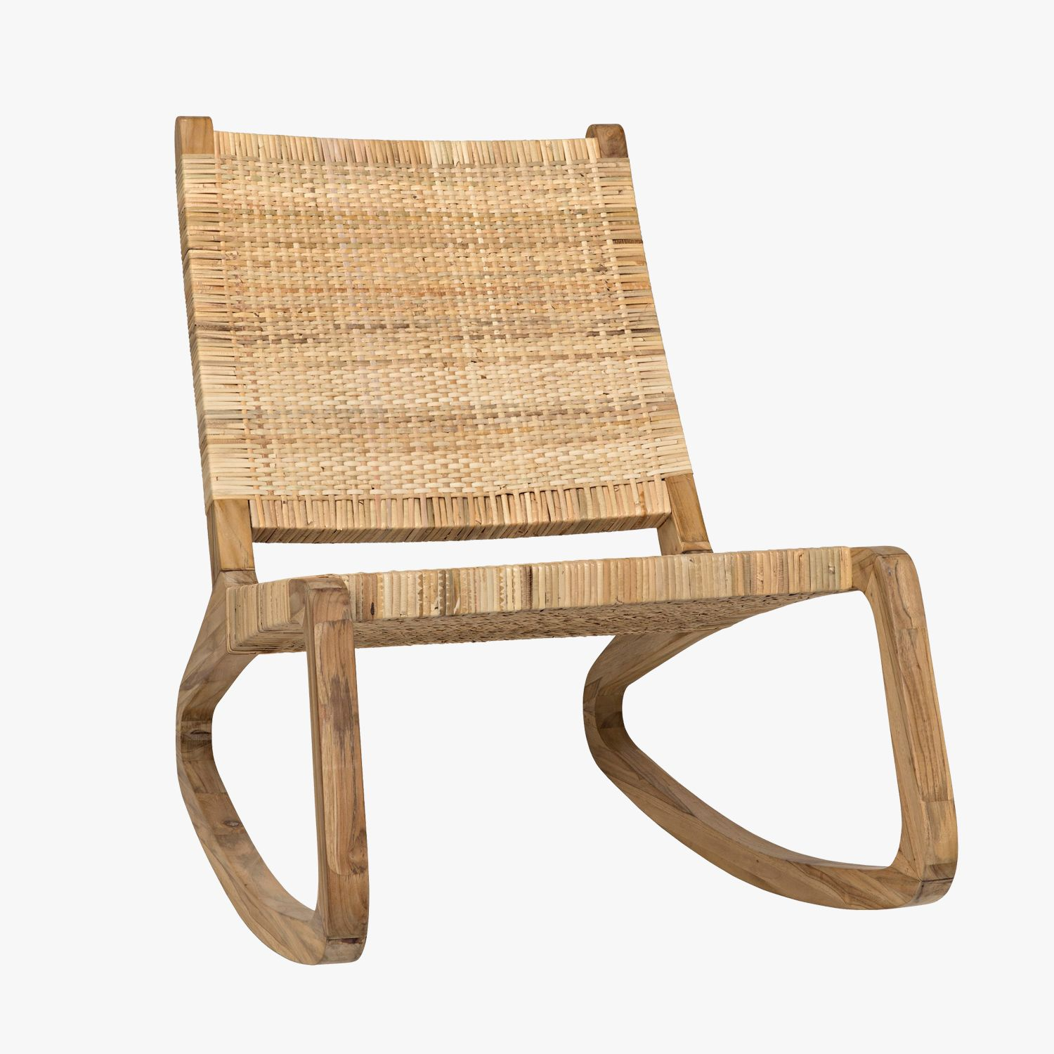 Our Las Palmas Rocking Teak Chair From Noir Features A Woven White Cedar Seat And Mid Century Inspired Base