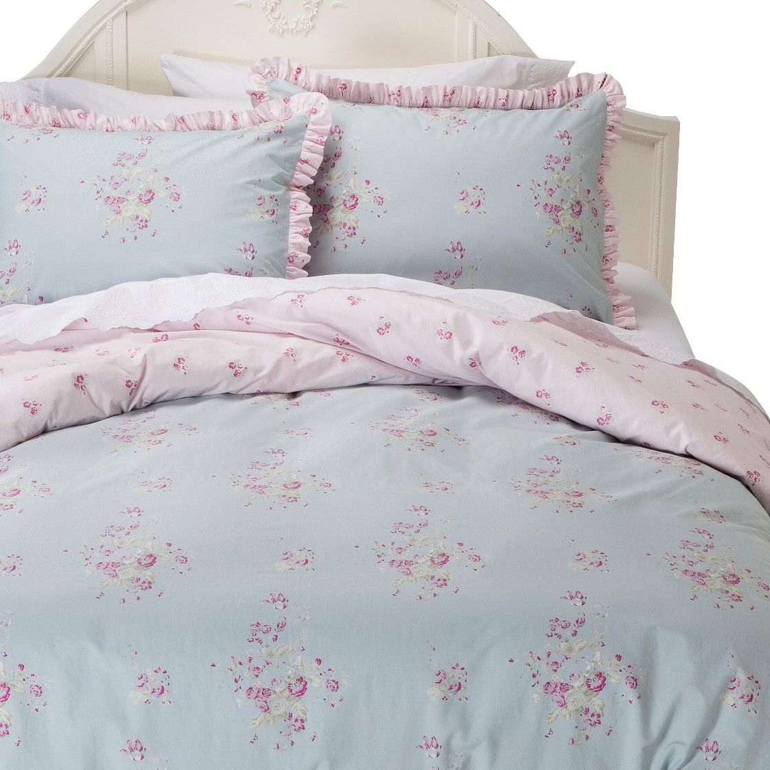 Simply Shabby Chic Faded Paper Rose Duvet Cover Set Rose