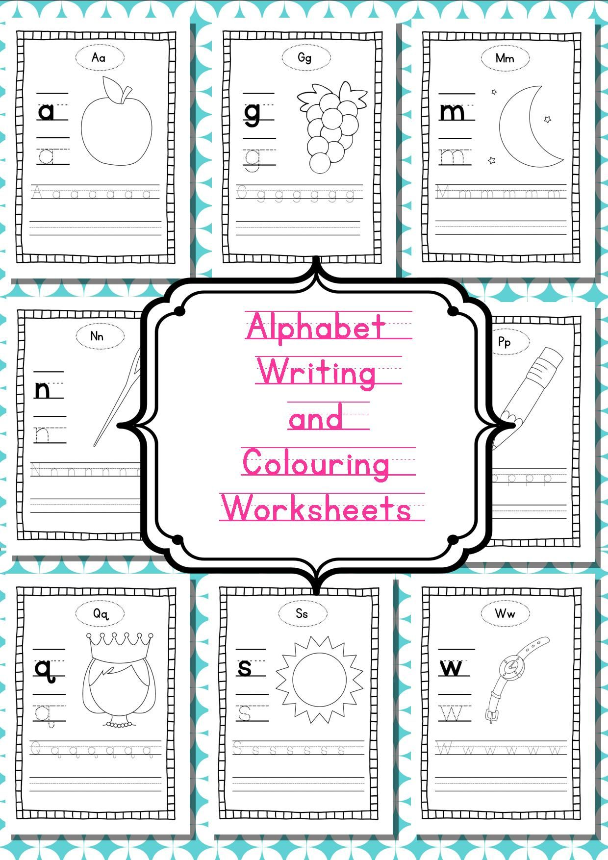 Alphabet Writing And Colouring Worksheets Independent
