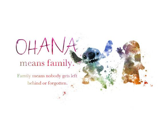 Ohana means Family ART PRINT Lilo and Stitch Quote illustration Disney