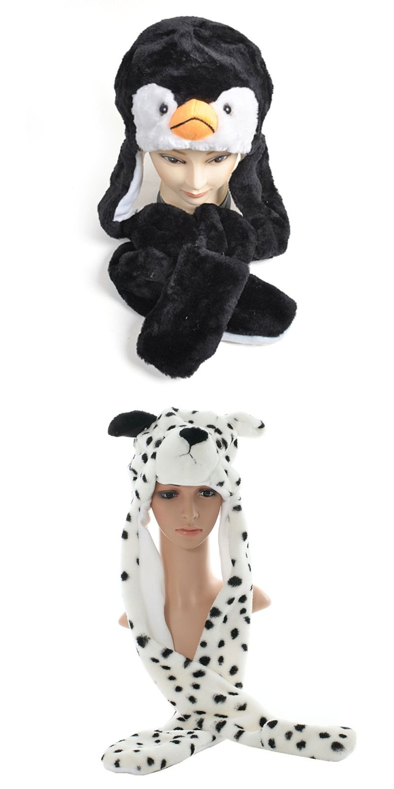 b57e5d57b8d DOUBCHOW New Fashion Cute Plush Black Penguin Animal Hat with Paws Gloves  Adults Teenagers Kids Boys