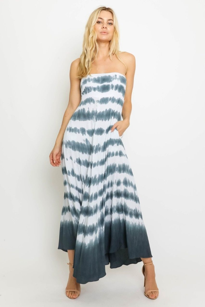 Charcoal Grey And White Tie Dye Dress Strapless Dress Maxi Dress Bohopink Strapless Maxi Dress White Tie Dye Dress Maxi Dress [ 1280 x 853 Pixel ]