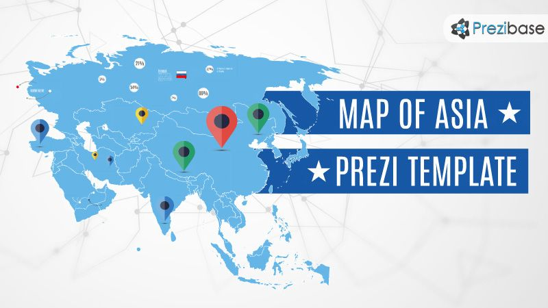 Blue World Asia Map Prezi Template  Prezi Templates