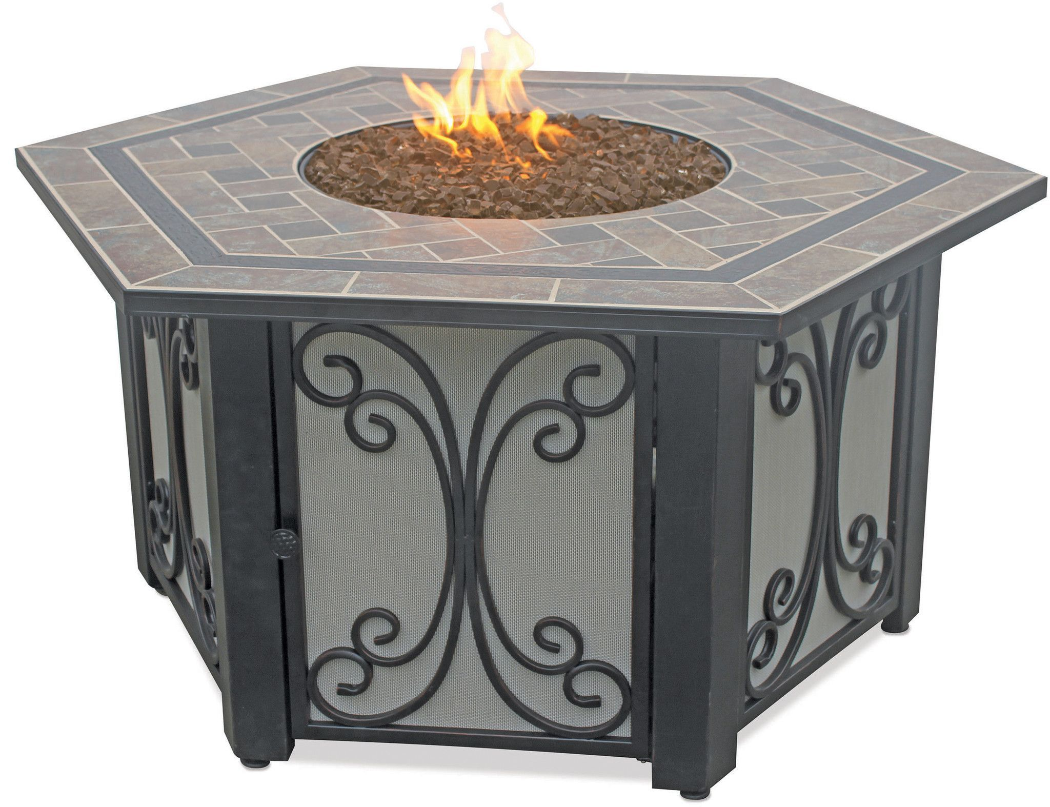 Uniflame Slate Tile Hexagon Propane Gas Fire Pit Home Amp Garden