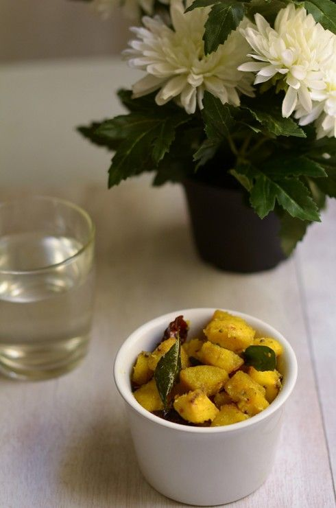 Plantains cooked the savoury way with dessicated coconut, curry leaves and dried red chillies