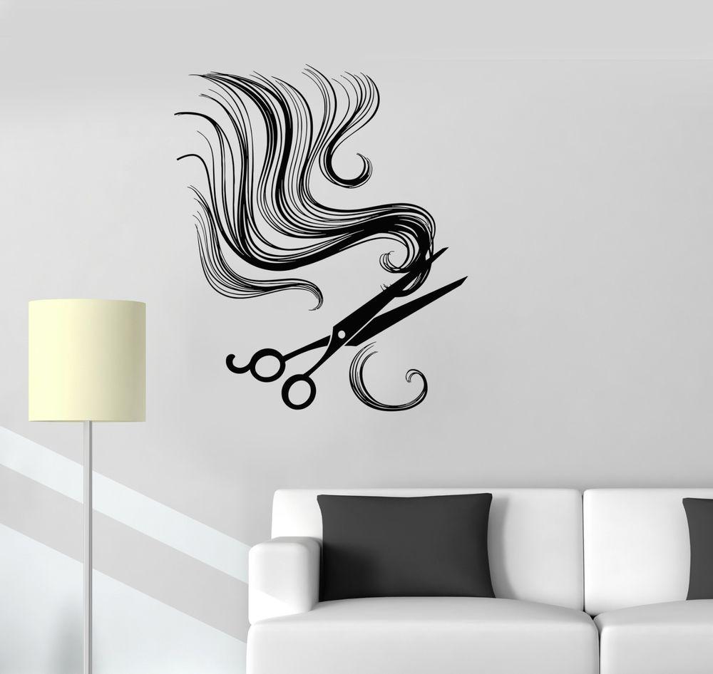 vinyl wall decal hair scissors barber tools beauty salon stickers wall sticker